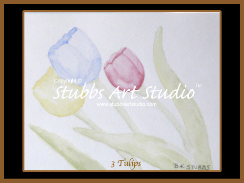 This is the enlarged image of the 3 Tulips Fine Art Print