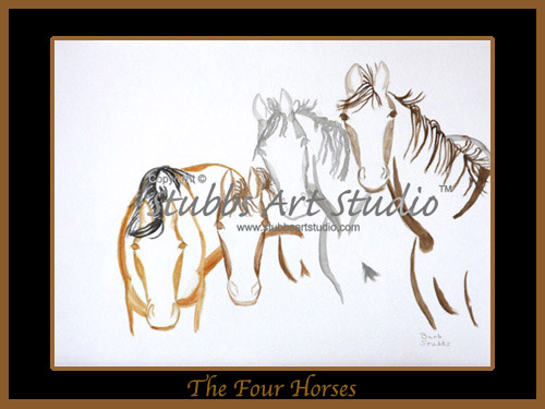 This is the enlarged image of the 4 Horses Fine Art Print