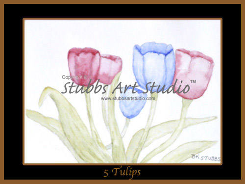 This is the enlarged image of the 5 Tulips Fine Art Print