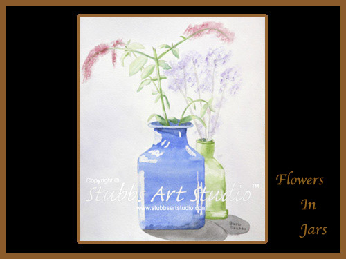 This is the enlarged image of the Flowers In Jars Fine Art Print