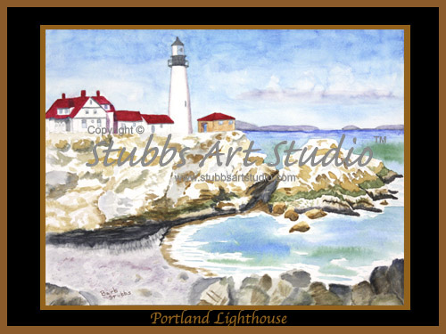 This is the enlarged image of the Portland Lighthouse Fine Art Print