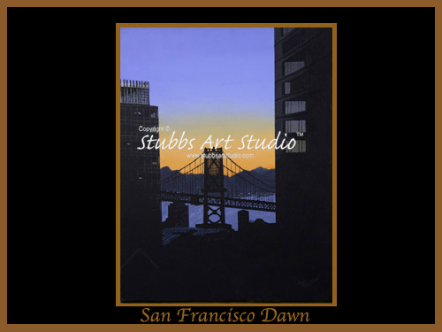 This is the enlarged image of the San Francisco Dawn Fine Art Print